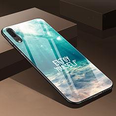 Custodia Silicone Gel Laterale Fiori Specchio Cover P01 per Huawei P20 Ciano