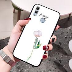 Custodia Silicone Gel Laterale Fiori Specchio Cover per Huawei Honor 10 Lite Bianco