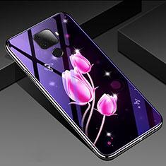 Custodia Silicone Gel Laterale Fiori Specchio Cover per Huawei Mate 30 Lite Rosa Caldo