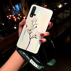 Custodia Silicone Gel Laterale Fiori Specchio Cover per Huawei Nova 5 Pro Bianco