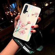 Custodia Silicone Gel Laterale Fiori Specchio Cover per Huawei Nova 5 Rosa