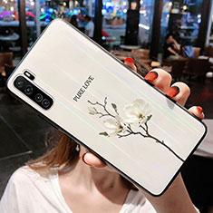 Custodia Silicone Gel Laterale Fiori Specchio Cover per Huawei P40 Lite 5G Bianco