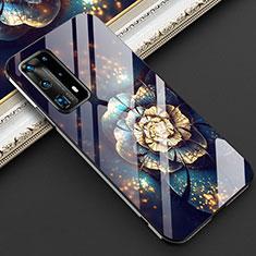 Custodia Silicone Gel Laterale Fiori Specchio Cover per Huawei P40 Pro+ Plus Nero