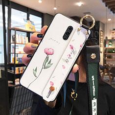 Custodia Silicone Gel Laterale Fiori Specchio Cover per Oppo Realme X Bianco