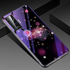 Custodia Silicone Gel Laterale Fiori Specchio Cover per Vivo X50 Pro 5G Viola