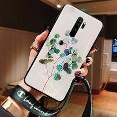 Custodia Silicone Gel Laterale Fiori Specchio Cover per Xiaomi Redmi Note 8 Pro Verde