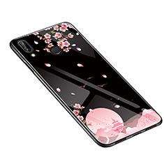 Custodia Silicone Gel Laterale Fiori Specchio Cover S01 per Huawei P20 Lite Nero
