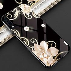 Custodia Silicone Gel Laterale Fiori Specchio Cover S02 per Huawei P30 Nero