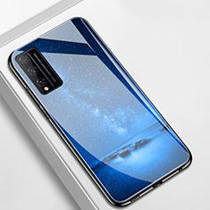 Custodia Silicone Gel Laterale Mistica Luna Stelle Specchio Cover per Huawei Honor Play4T Pro Blu