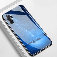 Custodia Silicone Gel Laterale Mistica Luna Stelle Specchio Cover per Samsung Galaxy Note 10 Plus Blu