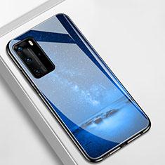 Custodia Silicone Gel Laterale Mistica Luna Stelle Specchio Cover S01 per Huawei P40 Pro Blu