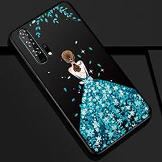 Custodia Silicone Gel Morbida Abito Ragazza Cover K01 per Huawei Honor 20 Pro Blu