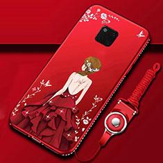 Custodia Silicone Gel Morbida Abito Ragazza Cover K01 per Huawei Mate 20 Pro Rosso
