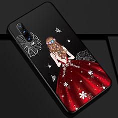 Custodia Silicone Gel Morbida Abito Ragazza Cover K02 per Huawei P30 Rosso e Nero