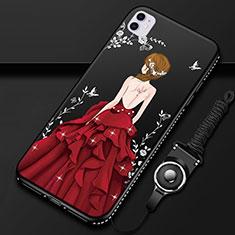 Custodia Silicone Gel Morbida Abito Ragazza Cover M01 per Apple iPhone 11 Rosso e Nero