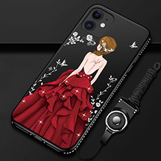 Custodia Silicone Gel Morbida Abito Ragazza Cover per Apple iPhone 12 Mini Rosso e Nero