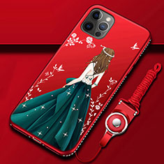 Custodia Silicone Gel Morbida Abito Ragazza Cover per Apple iPhone 12 Pro Multicolore