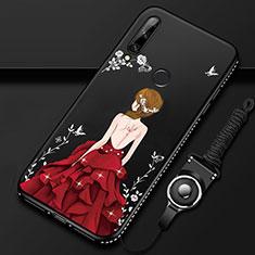 Custodia Silicone Gel Morbida Abito Ragazza Cover per Huawei Enjoy 10 Plus Rosso e Nero