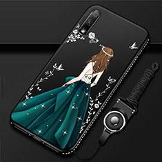 Custodia Silicone Gel Morbida Abito Ragazza Cover per Huawei Enjoy 10 Verde