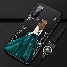 Custodia Silicone Gel Morbida Abito Ragazza Cover per Huawei Enjoy 20 Pro 5G Verde
