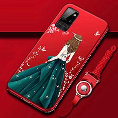 Custodia Silicone Gel Morbida Abito Ragazza Cover per Huawei Honor Play4 Pro 5G Multicolore