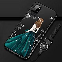 Custodia Silicone Gel Morbida Abito Ragazza Cover per Huawei Honor Play4 Pro 5G Verde