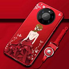 Custodia Silicone Gel Morbida Abito Ragazza Cover per Huawei Mate 40 Pro+ Plus Rosso