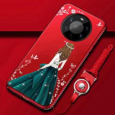 Custodia Silicone Gel Morbida Abito Ragazza Cover per Huawei Mate 40 Pro+ Plus Verde