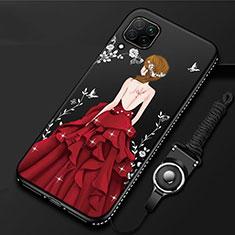 Custodia Silicone Gel Morbida Abito Ragazza Cover per Huawei P40 Lite Rosso e Nero