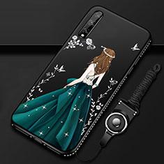 Custodia Silicone Gel Morbida Abito Ragazza Cover per Huawei Y8p Verde