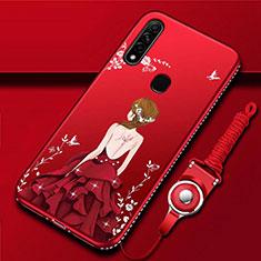 Custodia Silicone Gel Morbida Abito Ragazza Cover per Oppo A8 Rosso