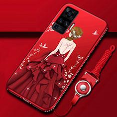 Custodia Silicone Gel Morbida Abito Ragazza Cover per Vivo X50 Pro 5G Rosso