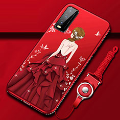 Custodia Silicone Gel Morbida Abito Ragazza Cover per Vivo Y12s Rosso
