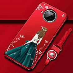 Custodia Silicone Gel Morbida Abito Ragazza Cover per Xiaomi Mi 10T Lite 5G Rosso Rosa