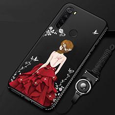 Custodia Silicone Gel Morbida Abito Ragazza Cover per Xiaomi Redmi Note 8 Rosso e Nero