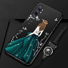 Custodia Silicone Gel Morbida Abito Ragazza Cover S01 per Xiaomi Mi Note 10 Verde