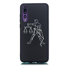 Custodia Silicone Gel Morbida Costellazione Cover S12 per Huawei P20 Pro Nero