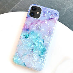 Custodia Silicone Gel Morbida Fantasia Modello Cover S01 per Apple iPhone 11 Blu
