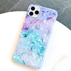 Custodia Silicone Gel Morbida Fantasia Modello Cover S01 per Apple iPhone 11 Pro Blu
