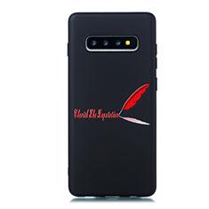 Custodia Silicone Gel Morbida Fantasia Modello Cover S01 per Samsung Galaxy S10 Plus Rosso