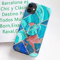 Custodia Silicone Gel Morbida Fantasia Modello Cover S06 per Apple iPhone 11 Ciano