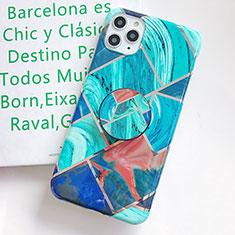 Custodia Silicone Gel Morbida Fantasia Modello Cover S06 per Apple iPhone 11 Pro Max Ciano