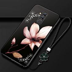 Custodia Silicone Gel Morbida Fiori Cover H02 per Huawei Mate 20 Lite Nero