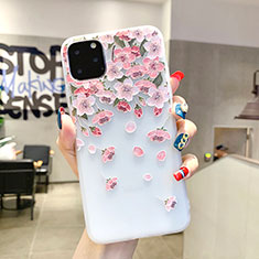 Custodia Silicone Gel Morbida Fiori Cover H03 per Apple iPhone 11 Pro Max Rosa