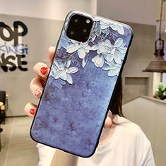 Custodia Silicone Gel Morbida Fiori Cover H07 per Apple iPhone 11 Pro Max Blu