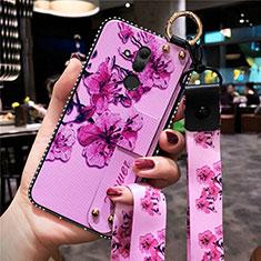 Custodia Silicone Gel Morbida Fiori Cover H08 per Huawei Mate 20 Lite Rosa Caldo