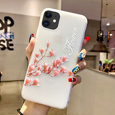 Custodia Silicone Gel Morbida Fiori Cover H18 per Apple iPhone 11 Rosa