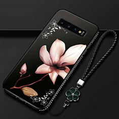 Custodia Silicone Gel Morbida Fiori Cover K01 per Samsung Galaxy S10 Marrone