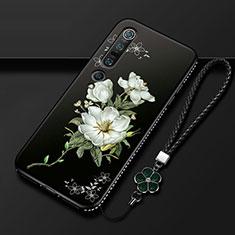Custodia Silicone Gel Morbida Fiori Cover K01 per Xiaomi Mi 10 Pro Bianco