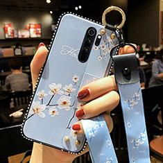 Custodia Silicone Gel Morbida Fiori Cover K01 per Xiaomi Redmi Note 8 Pro Cielo Blu